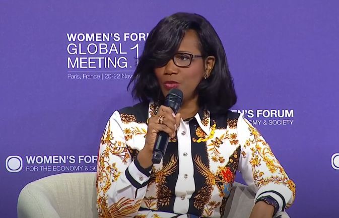 "Élisabeth Moreno l'an dernier au ""Women's Forum for the Economy & Society"" © Capture Youtube"